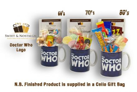 Doctor Who Logo Mug with/without a Time Travelling selection of 60's, 70's or 80's retro Sweets.